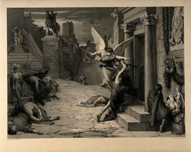 Ангел смерти пробивает дверь во время чумы в Риме; гравюра