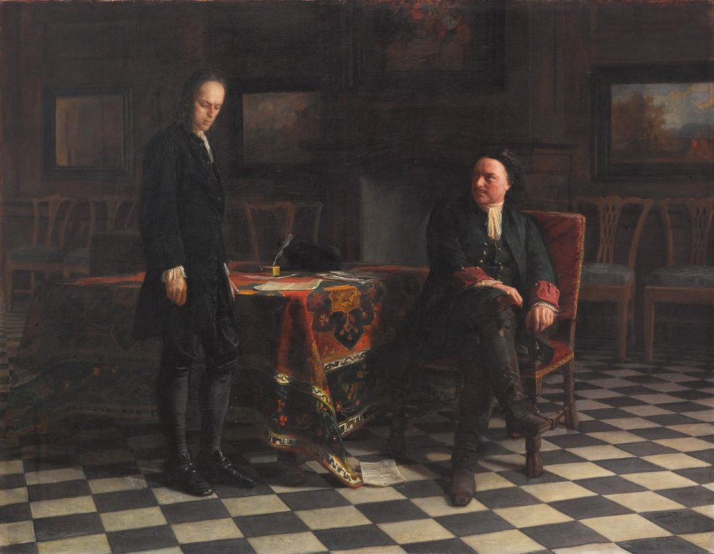 Петр I допрашивает царевича Алексея Петровича в Петергофе. Картина Николая Ге. 1871 год