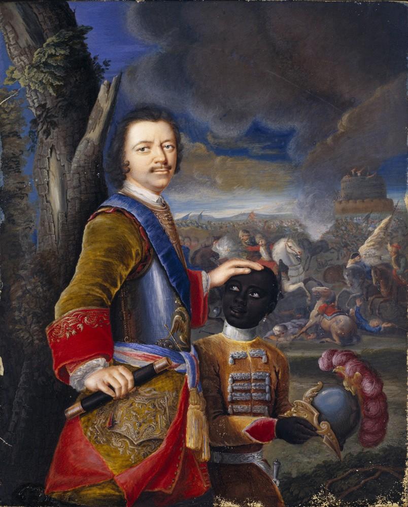 Петр Великий с арапчонком. Акварель Густава фон Мардефельда. Около 1720 года