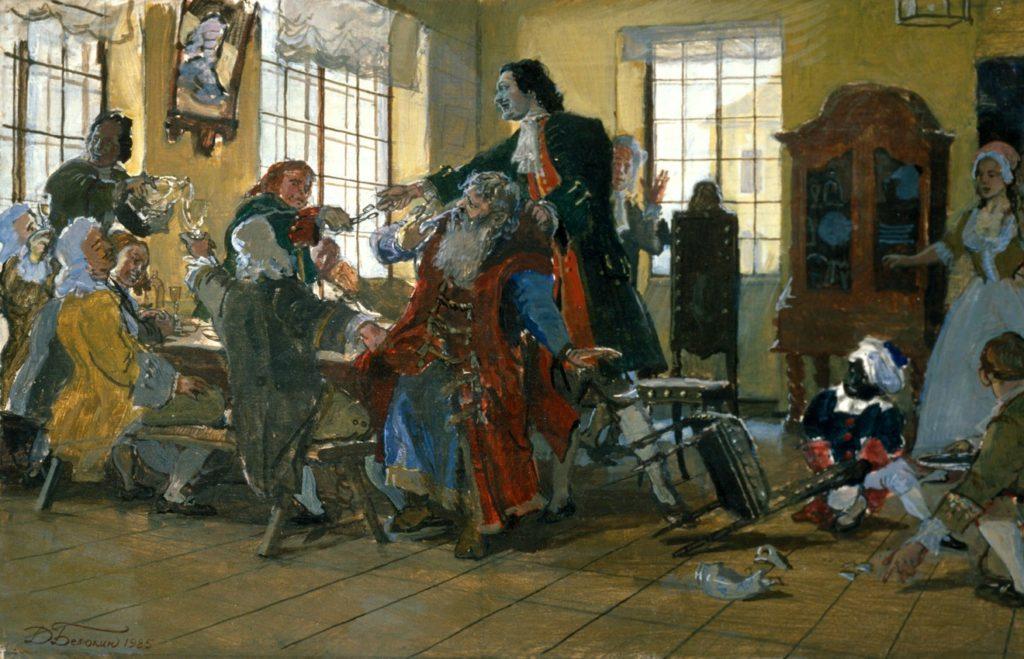 Петр I стрижет бороды боярам. Акварель Дмитрия Белюкина. 1985 год