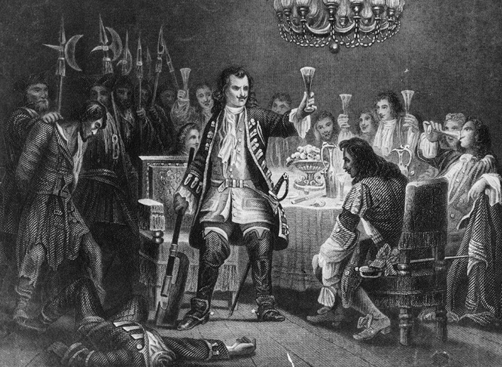 Петр I со своими дворянами накануне стрелецкой казни. 1754 год