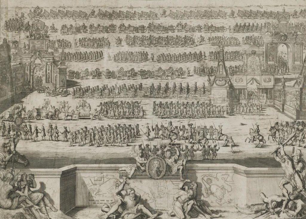 Торжественное вступление русских войск в Москву 21 декабря 1709 года после Полтавской победы. Гравюра Питера Пикарта. 1737 год