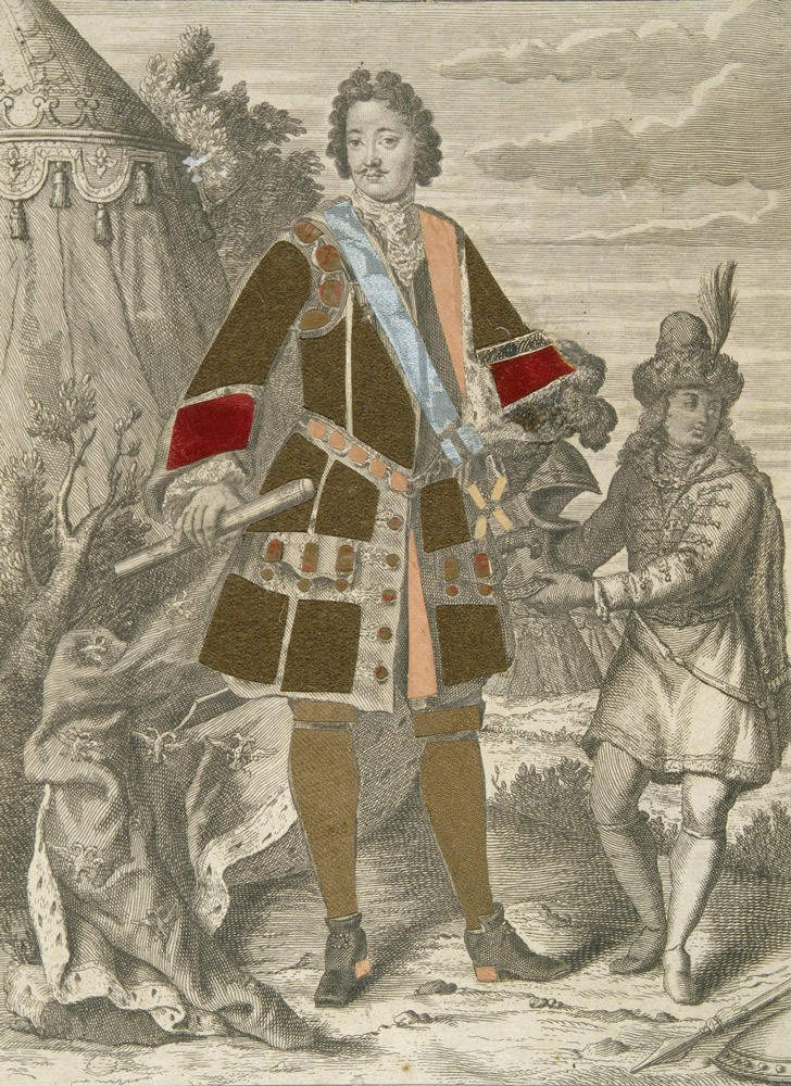 Портрет Петра I в рост. Гравюра Франсуа Ландри. Около 1717 года