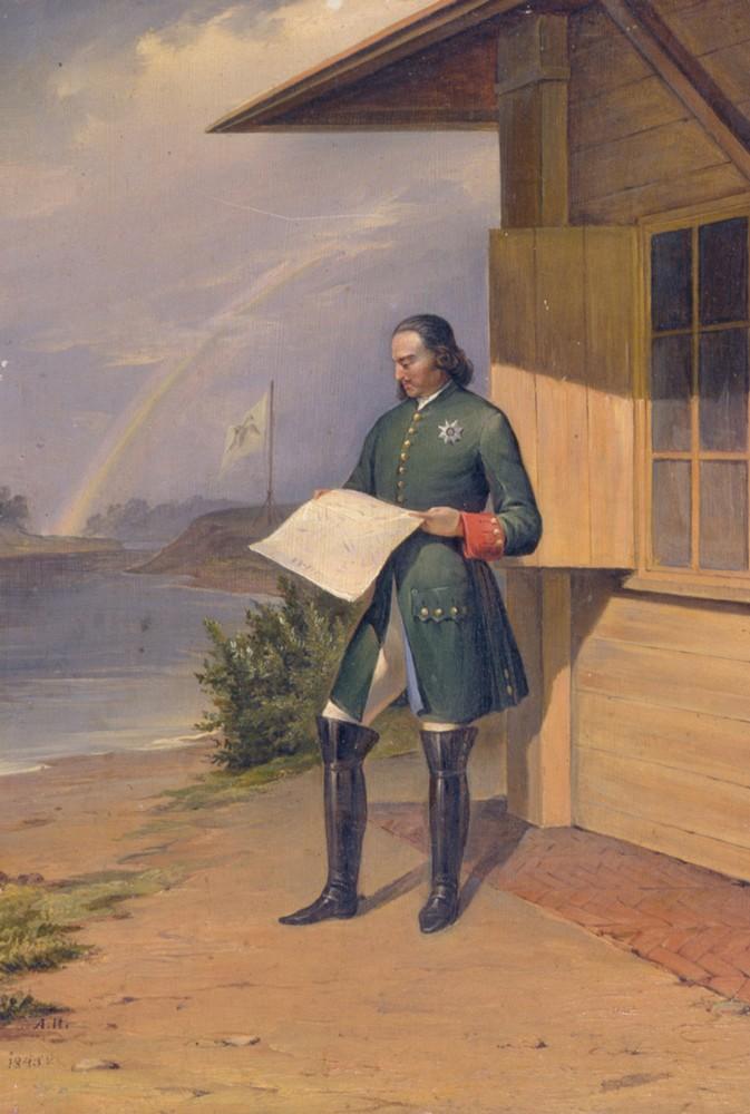 Петр I на берегу реки Невы. Картина Антона Иванова-Голубого. 1843 год
